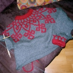 grey & red sweater