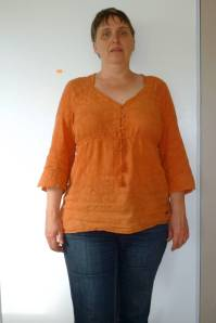 Orange empire waist, 3/4 sleeve top